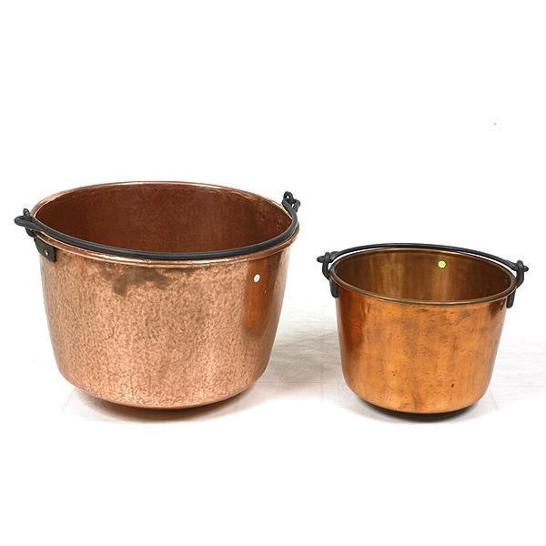 5: Rare small size copper apple butter/cooking kettle,