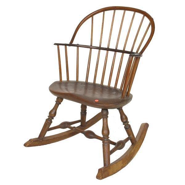 7: 1900 c Windsor rocker, shaped plank seat, sackback,