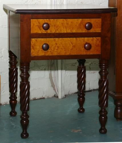 9: Early 1800 Sheraton two drawer stand, cherry/solid b