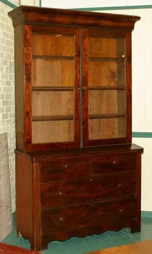 13: Mid 1800's Empire 2 part secretary, fiddle back and