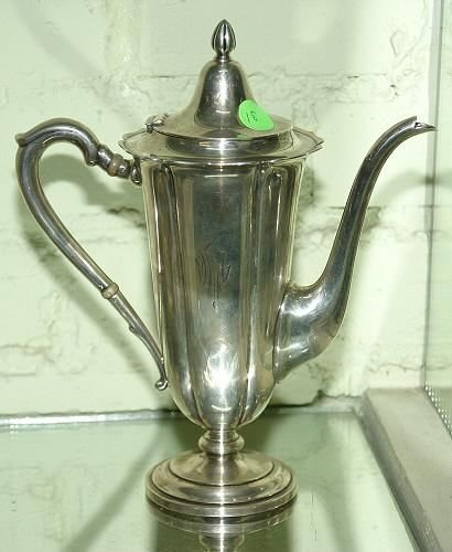"18: Heavy sterling pedestal 9""chocolate pot, open wing"