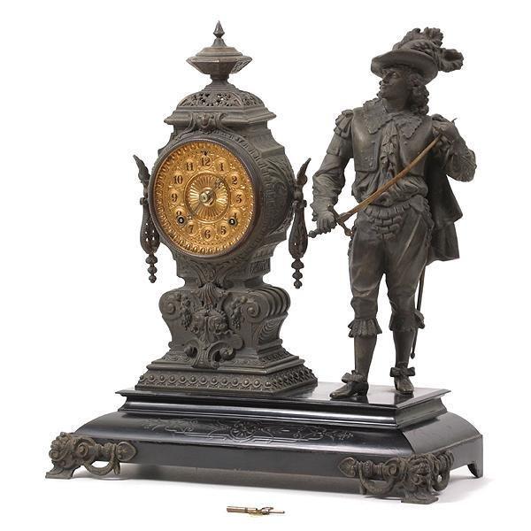 19: Late 1800 Ansonia statue clock, 1892 signed brass m