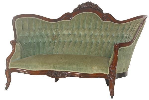 20: Mid 1800's Rococo Victorian laminated loveseat, J.