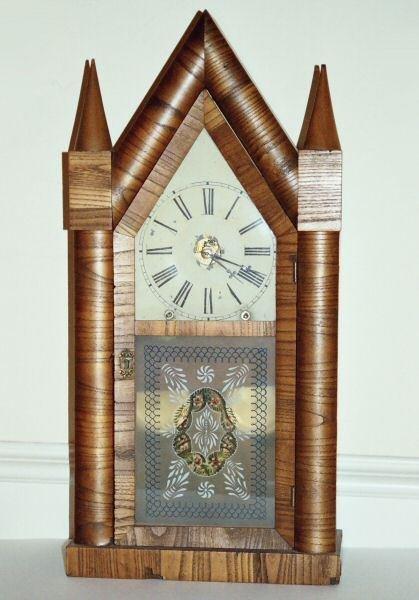 199: Mid 1800 large steeple mantel clock, Chancey Jerom