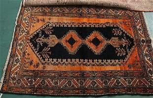 "1: 4'5"" x 6' Antique Persian Hamedan rug, Deep blue and"