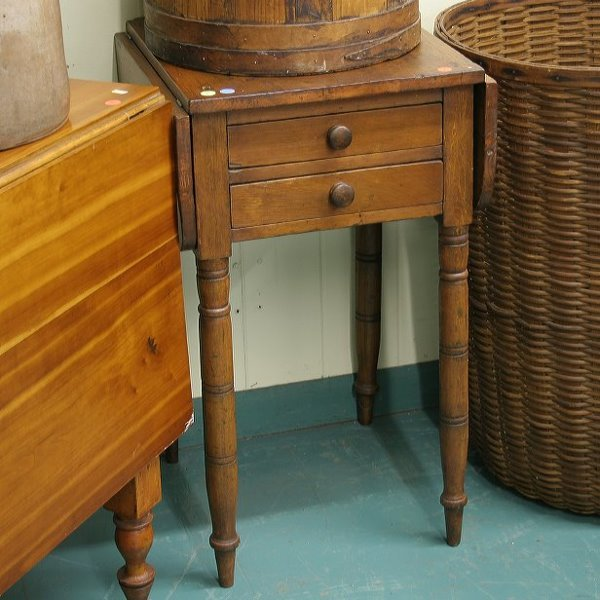 2: Early 1800 Sheraton 2 drawer dropleaf stand, softwoo