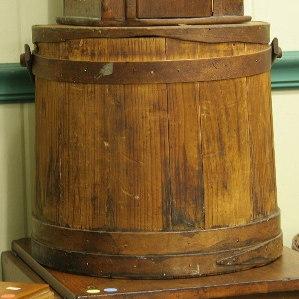 """3: Large wooden furkin, 15"""" diameter, with lid and hand"""