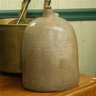 5: 3 gallon stoneware jug, gray glaze, possibly souther
