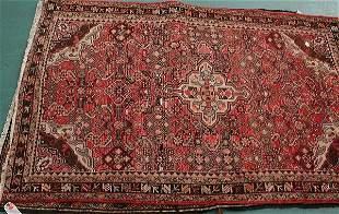 """6: 4'3"""" x 6'11"""" Old Persian Hamedan rug, rose colors. 2"""