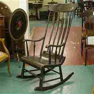 7: Mid 1800's Boston rocker, old brown paint, cornucopi