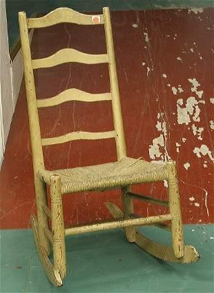 11: Early 19th century ladderback youth rocker, four ar