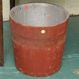"""14: Wooden bucket, old red paint, 12""""t 12"""" diameter,"""