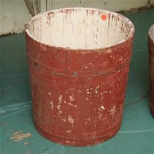 """15: Wooden bucket, old red paint, 12""""t 12"""" diameter,"""