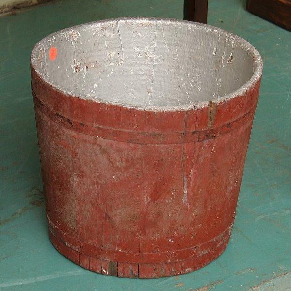 """16: Wooden bucket, old red paint, 11""""t 12"""" diameter,"""