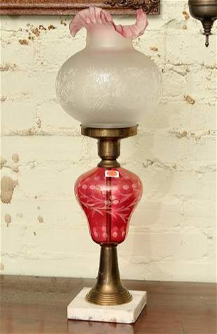 18: Oil lamp, cranberry cut to clear font, brass/marble