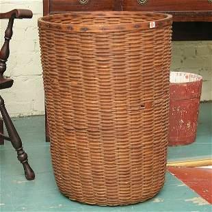"20: Large splint basket, 28""t 21""d . Nice old patina, f"
