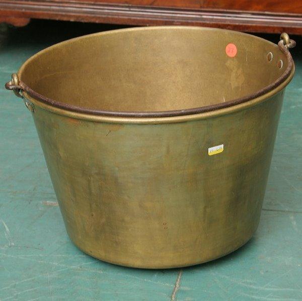 "23: Heavy brass bucket, 16"" diameter, wrought iron hand"