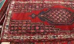 "99: 9'1"" x 4' handmade Persian rug, deep red field, dee"