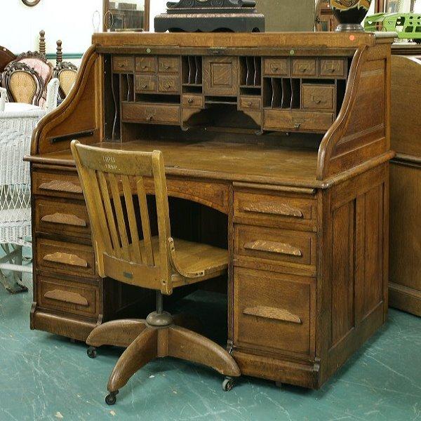 """121: Excellent 54"""" S rolled top desk, solid tiger oak,"""