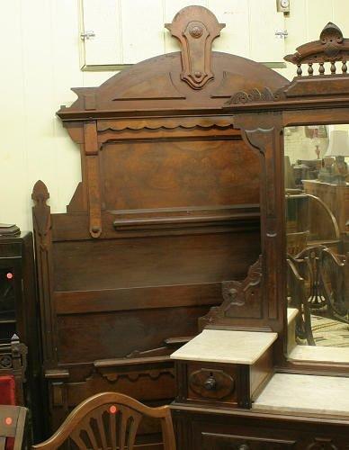1226: 1880 Renaissance high back bed, solid and burl wa