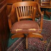 1240B Mid 1900 open arm desk chair solid maple WH Gu