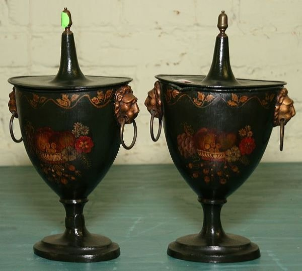 1: Pair of Federal style tole decorated covered urns, D