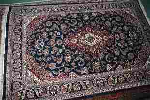 6' x 9' fine Kashan rug, deep blue field, scrolled c