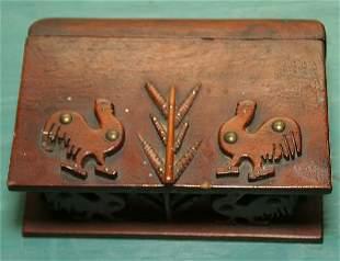 Interesting 19th century folk art box, representing