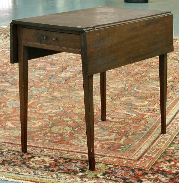 6: 1800 Hepplewhite pembroke table, solid mahogany, ski