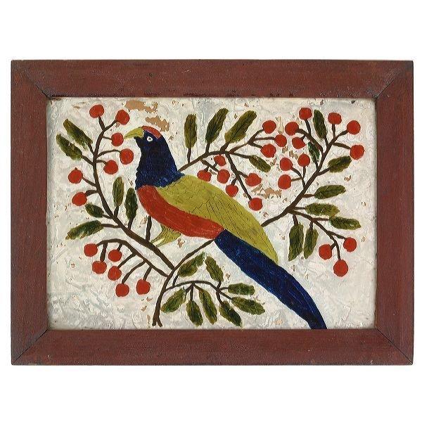 7: Mid 1800 folk art reversed painted on glass, bird on