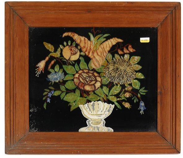 8: Mid 1800 folk art reversed painting on glass, floral