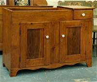 9: Early 1800 dry sink, softwood, drawer beside drywell