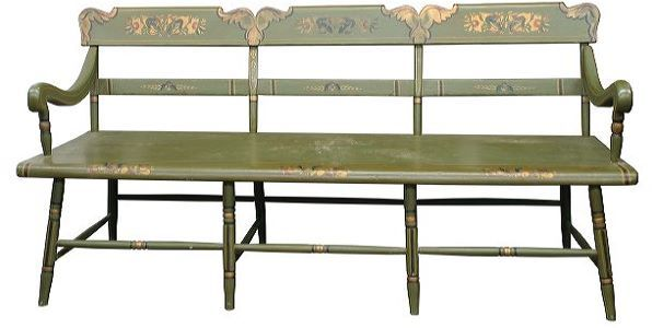 Mid 1800 Empire bench, floral/scrolled leaf stencil