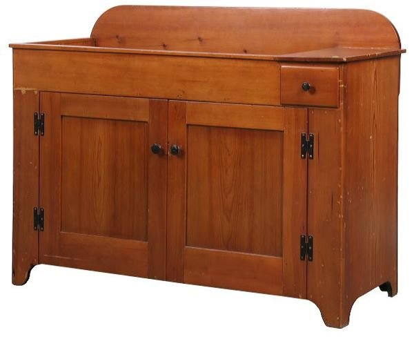 14: Early 1800 dry sink, softwood, drawer beside drywel