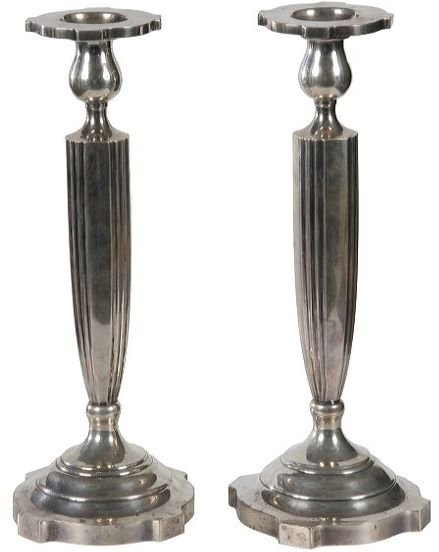 """15: Pair of sterling candlesticks, 13""""t, and elegant co"""