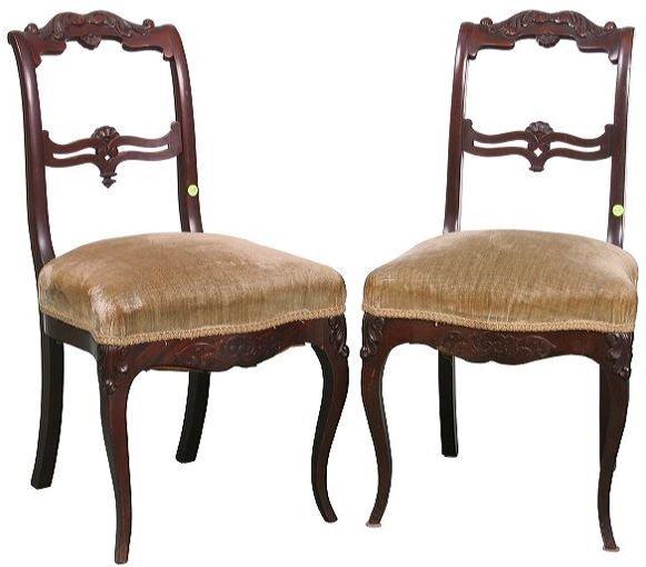 16: Pair of great 1840 Rococo Victorian chairs, mahogan