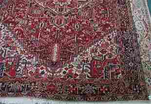 "9' x 11' 7"" antique Heriz handmade wool rug, brick"