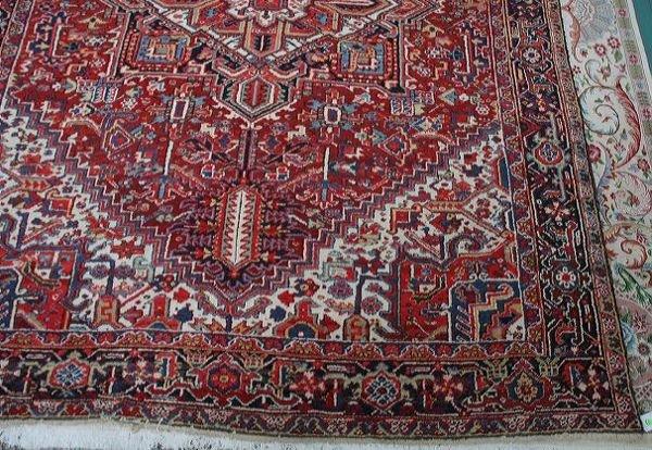 "18: 9' x 11' 7"" antique Heriz handmade wool rug, brick"