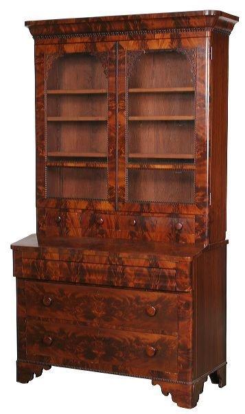 19: 1840 Empire secretary, beautiful flame mahogany, ri