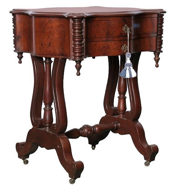 21: 1860 Rococo Victorian 2 drawer stand, flame and sol
