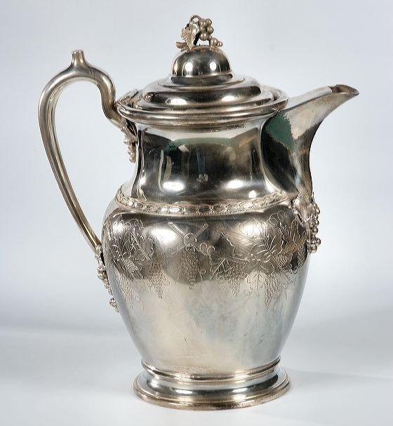 22: Rococo Victorian silverplate ice water pot, patent