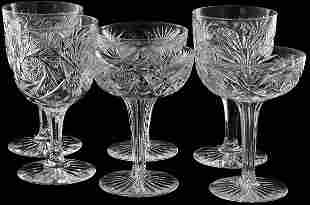 Lot of 15 brilliant cut glass stemware, pinwheel, f