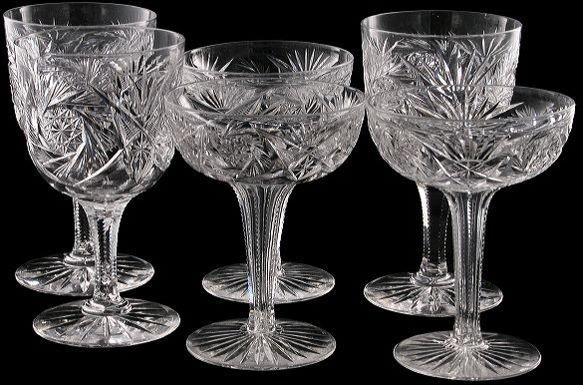 24: Lot of 15 brilliant cut glass stemware, pinwheel, f