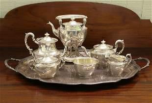 Seven piece sterling tea set, Gorham hallmarks, ret