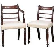 51: Rare set of six early 1800 Sheraton dining chairs,