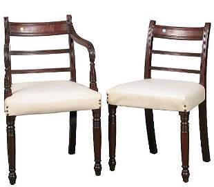 Rare set of six early 1800 Sheraton dining chairs,