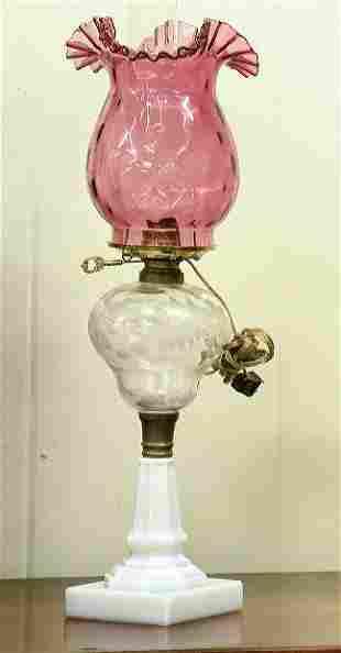 Mid 1800 oil lamp, pear shaped, floral cut font, fl