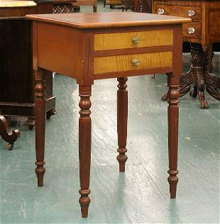 Early 1800 Sheraton two drawer stand, solid tiger m