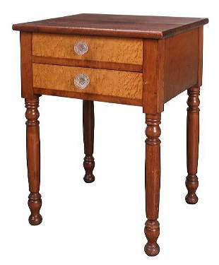 Early 1800 Sheraton two drawer stand, birds eye map