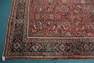 """10'7"""" x 13'8"""" Antique Heriz handmade wool rug, rust"""